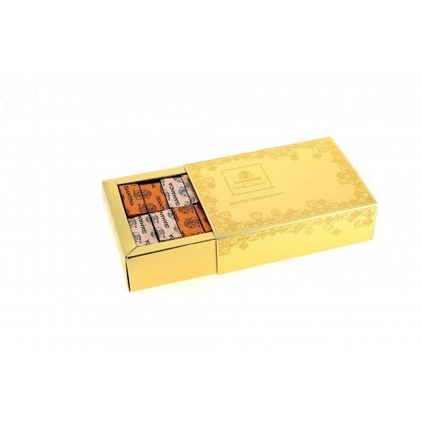 Coffret Gias d'or garni de 240g de Chocolats Léonidas.