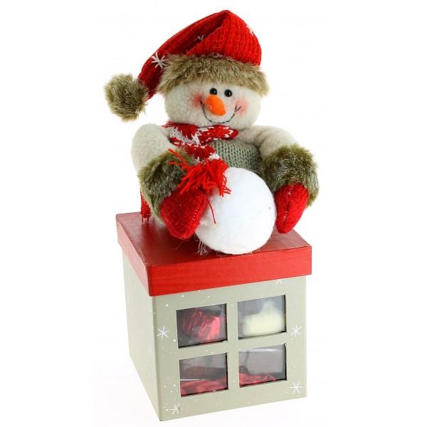 Cube peluche bonhomme de neige  et ses Chocolats Léonidas 535g