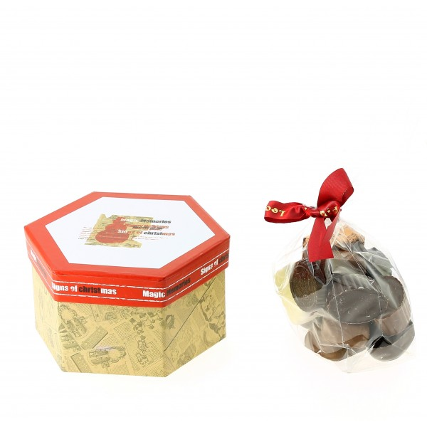 Coffret hexagonal  de Noël et ses chocolats Léonidas 315g