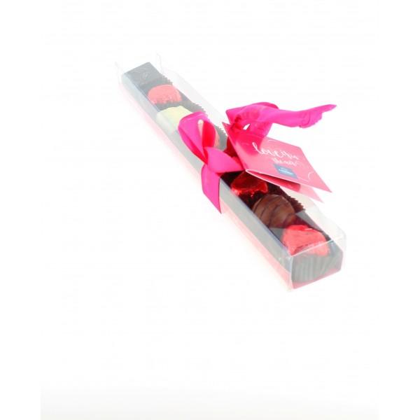 Réglette Saint Valentin garnie de 140g de Chocolats Léonidas.