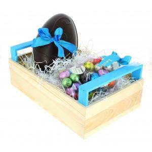 Cagette de Pâques garnie de 910g de Chocolats Léonidas noir