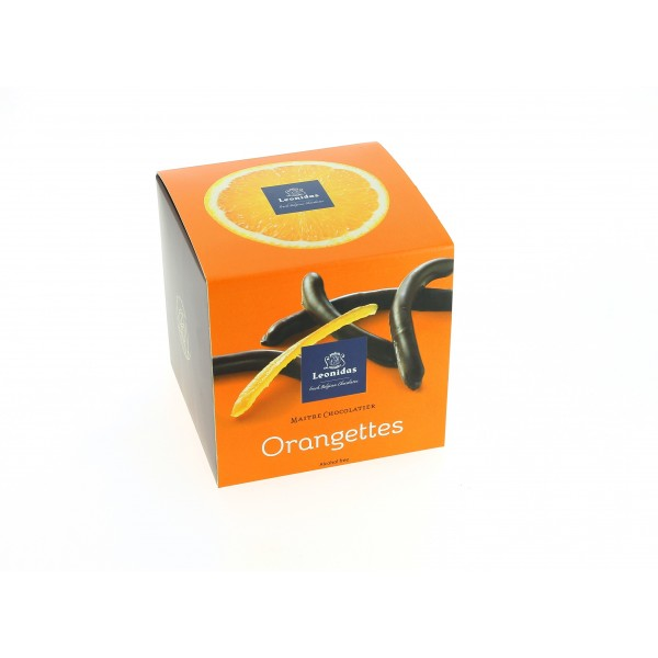 Cube petit plaisir garni de 250g d'orangettes Leonidas.
