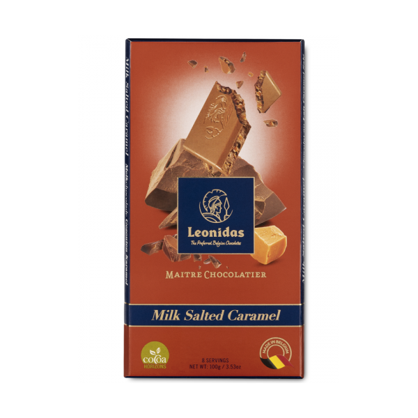 Tablette 100 g de chocolat Leonidas au lait au caramel salé.