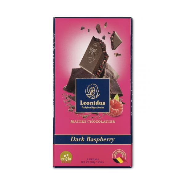 Tablette chocolat Leonidas noir éclats de framboise.