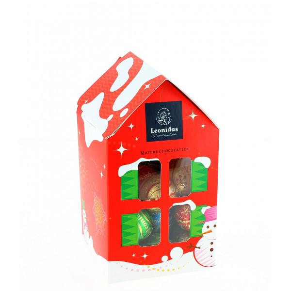 Maisonnette S garnie de 250g de chocolats Leonidas de Noël