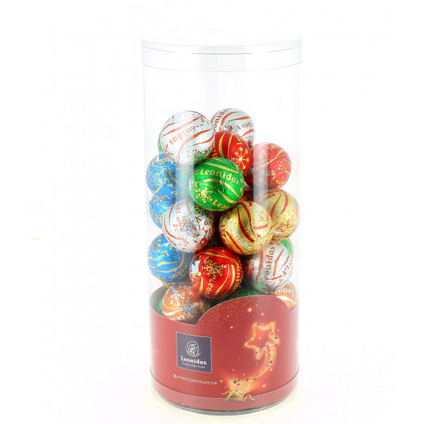 Le tube de Noël garni de 440 g de chocolats Leonidas
