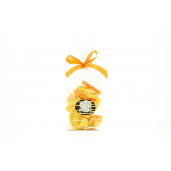 Sachet de 250g de demies tranches d'oranges et citrons en gelée.
