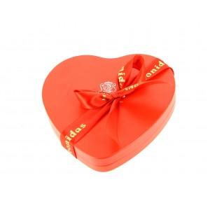 Coeur métal  garni de 145 g de chocolats Leonidas
