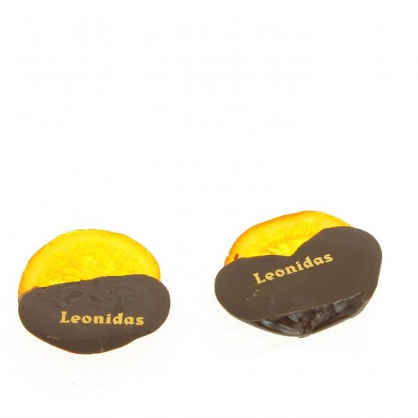 Oranges confites trempées, chocolat noir Léonidas 200 g